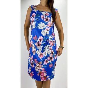 TEABERRY Blue Floral Square Neck Midi Dress Sz 16